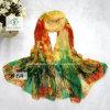 New Deisgn Flower Printed Beach Shawl Lady Fashion Silk Scarf