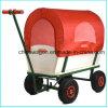 Wooden Wagon Red Wood Railing Children Kid Garden Cart