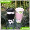 16oz Custom Printed Double Wall PP Plastic Coffee Mug with Band