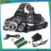 Double T6 Headlamp, Mountaineering Lamp, Miner′s Lamp