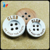Painted White Color 4 Holes Round Wood Button with Logo