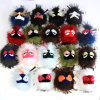 Fox Fur Ball Monster Fox Fur POM Poms Keychain