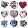 925 Sterling Silver Heart Bead Charms Pink Cubic Zirconia CZ Clip Charms Fit Bracelet Jewelry