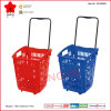 Multifunctional Rolling Plastic Shopping Basket with Single Steel Handle (OW-BR005)