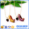 Fashion Cheap Enamel High Heel and Flower Pendant Necklace Ab-15
