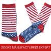 Men′s Stripe Sock with Star Pattern of Foot