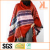 Ladies Winter Red Checked Pullover Woven Shawl with Collar