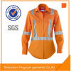 Star Sg Orange Color Womens Work Safety Shirt with 3m 8906 Reflector for Industry