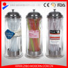 Wholesale Glass Drinking Straw Dispenser with Drinking Straws and Stainless Metal Cover