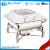 Stainless Steel Electrolytic Luxury Roll Top Glass Lid Square Dish Chafing for Sale with Fuel Holder
