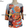 2015 Summer Top Fashion Printing Ladies Three Quarter Sleeve Knitted Sweater (3208)