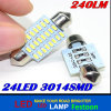 White Light 3014 24SMD LED Lamp Aouto Headlight 31mm 36mm 39mm 41mm 44mm