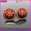 Round Red Cute Paw Metal Earrings for Wholesale (21641)