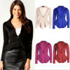 C1124 Ol Short Leisure Suit Jacket with Single Button and Ruffles