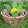 Eco-Friendly Wood Gardening Round Flower Pot