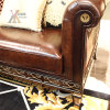 Top-Grain Leather European Antique Style Living Room Sofa (E013)