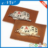 Factory Custom Embossed PU Leather Patch with Metal Label