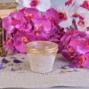 Mini 140ml Rough Pink Ceramic Candle Container with Gold Rim