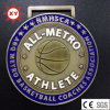 Free Mould Antique Brass Basketball Medal for Club