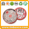 Round Metal Christmas Cookie Tins for Promotional Holiday Gifts Packaging