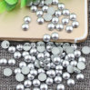 Silver Nail Pearl Half Round Craft ABS Imitation Pearls Scrapbook Beads DIY Nail Decoration (TP-silver nail rhinestone)