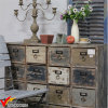 Shabby Chic Farmstead Many Drawers Wooden Cabinet on Wheels
