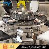 Modern Metal Furniture Black Marble Round Dining Table