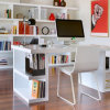 Modern White Corian Acrylic Solid Surface Study Table Office Desk