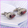 Fashion Red Ruby Diamond Rhinestone Cufflinks