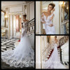 Lace Beach Bridal Gowns Mermaid Sheer Sleeves Wedding Dresses H2015L1