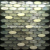Ceramic Ice-Cracked Mix Grey Ellipse Iridescent Glass Mosaic M8le254