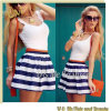 New Fashion Casual Blue Striped Stitching Women Dress