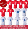 Latest 2014 World Cup England Player Football Kits Shirts and National Country Jerseys Soccer Embroidery Logo Free Shipping