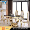 Home Furniture Glass Dining Table with Gold Frme