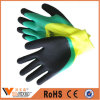 Oil Resistant Liner Blue Foam Crinkle Coated Working Gloves