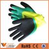Oil Resistant Liner Blue Foam Crinkle Coated Working Gloves
