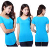 Women's V-Neck Set Auger Elastic Thin Body Fashion T-Shirt with Short Sleeves