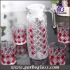 Decorative Glass, Colored Glass, Glassware Set, 1PC Glass Jug with 6PCS Glass Cup
