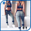 Sexy Gray Bra and Capris Two-Piece with Black Streak Splicing Women Sportswear