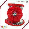 Wholesale High Quality Halloween Skull and Roses Top Hat Hairclip with Red Trim Accessory