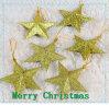 Gold Star Shiny Plastic Star Hang Christmas Decoration