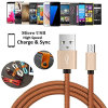 PU Leather Micro USB Charging Data Charger Cable for Samsung
