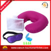Custom Disposable Flocking PVC Inflatable Neck Pillow for Airplane