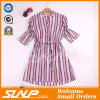 Fashion Women Vertical Stripe Clothes with Half Sleeve