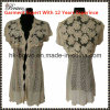 Wholesale High Quality Fashional Designed Ladies V-Neck Short Sleeve Cardigan Knitted Sweater with Lace (9836#)