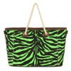 Woven Handle Sparkle Zebra Fashion Women Handbags (MBNO032001)