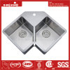 "33""X22"" Stainless Steel Radius Double Bowl Handmade Kitchen Sink"