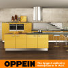 Oppein Modern Yellow Acrylic Wood Kitchen Cabinets with Island (OP15-A01)