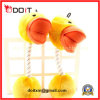Yellow Duck Dog Traing Ball with Durable Rope