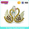 Pair Swans Silver Plating Pendants Charms with Colorful Stones